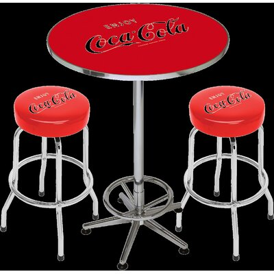 On The Edge Marketing Coca Cola Licensed 3 Piece Pub Table Set
