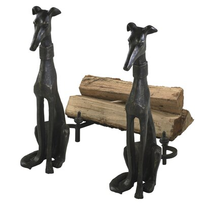 2 Piece Dog Andirons Figurine