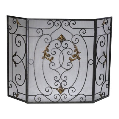 French 3 Panel Iron Fireplace Screen