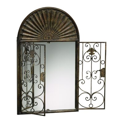 Gate Mirror with Verde Accents in Rustic