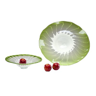 Large Art Glass Bowl in Green