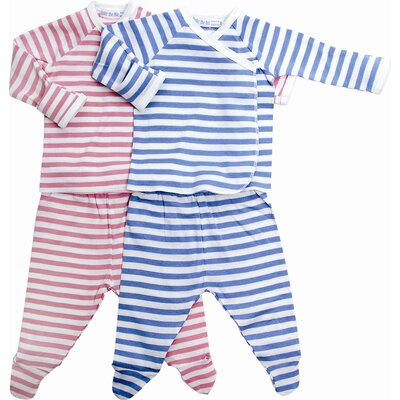 Under the Nile Classic Stripes Side Snap Layette Set in Rose Stripes