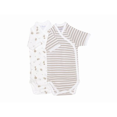 Under the Nile Nature's Nursery Short Sleeve Side Snap Babybody Baby Clothing in Tan Stripes