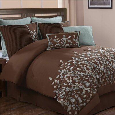 Jardin Embroidered Leaves 8 Piece Comforter Set (Set of 8)