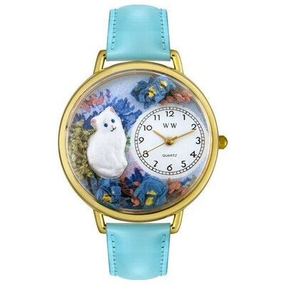 Unisex White Cat Baby Blue Leather and Goldtone Watch in Gold