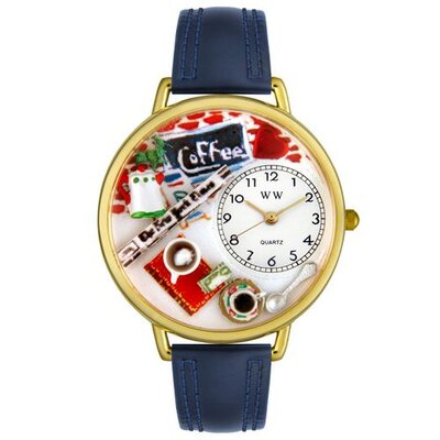 Unisex Coffee Lover Navy Blue Leather and Goldtone Watch in Gold
