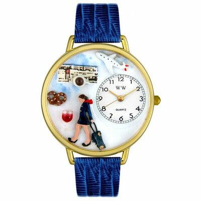 Unisex Flight Attendant Royal Blue Leather and Goldtone Watch in Gold