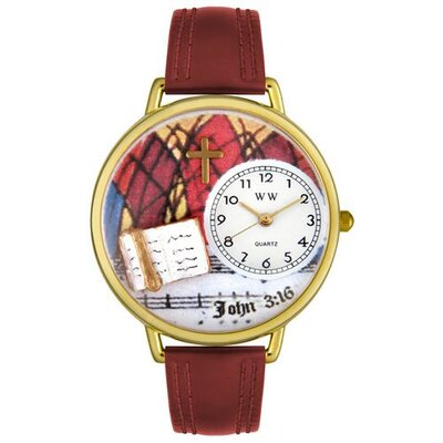 Whimsical Watches Unisex John 3:16 Burgundy Leather and Goldtone Watch in Gold