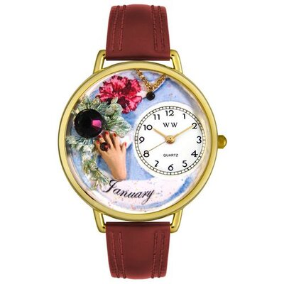 Whimsical Watches Unisex January Burgundy Leather and Goldtone Watch in Gold