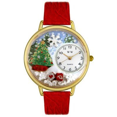 Unisex Christmas Tree Red Leather and Goldtone Watch in Gold