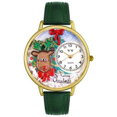 Whimsical Watches Unisex Christmas Reindeer Hunter Green Leather and Goldtone Watch in Gold