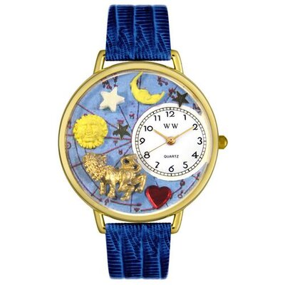 Whimsical Watches Unisex Leo Royal Blue Leather and Goldtone Watch in Gold