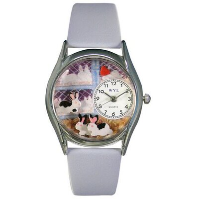 Whimsical Watches Women's Bunny Rabbit Baby Blue Leather and Silvertone Watch in Silver