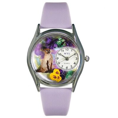 Women's Siamese Cat Lavender Leather and Silvertone Watch in Silver