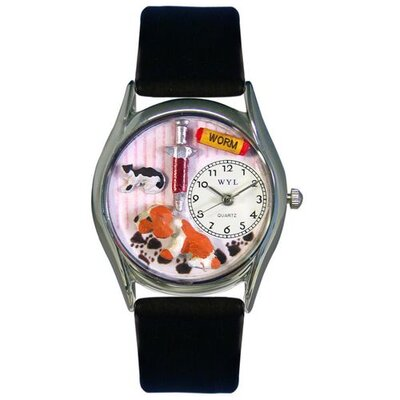 Whimsical Watches Women's Veterinarian Black Leather and Silvertone Watch in Silver