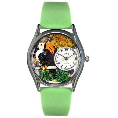 Women's Toucan Green Leather and Silvertone Watch in Silver