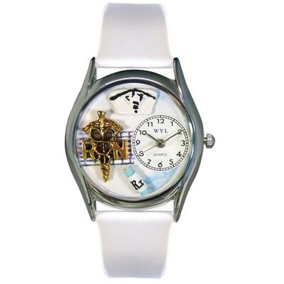 "Whimsical Watches Women""s RN White Leather and Silvertone Watch in Silver"