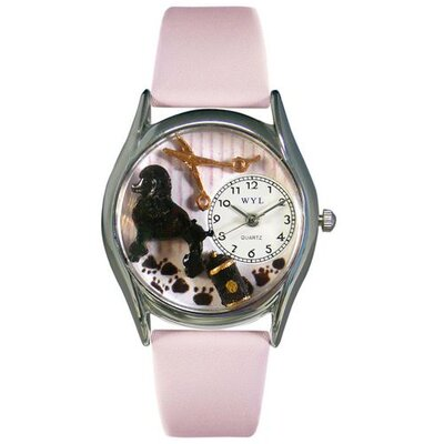 "Whimsical Watches Women""s Dog Groomer Pink Leather and Silvertone Watch in Silver"