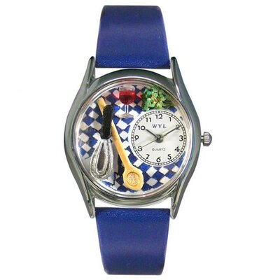 "Whimsical Watches Women""s Chef Royal Blue Leather and Silvertone Watch in Silver"