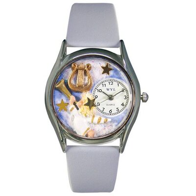 "Whimsical Watches Women""s Angel with Harp Baby Blue Leather and Silvertone Watch in Silver"