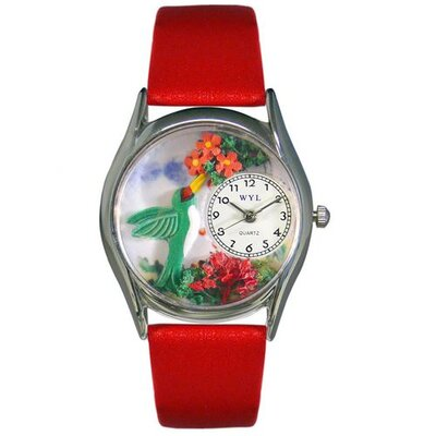 Whimsical Watches Women's Hummingbirds Red Leather and Silvertone Watch in Silver