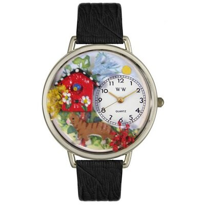 Unisex Birdhouse Cat Black Skin Leather and Silvertone Watch in Silver
