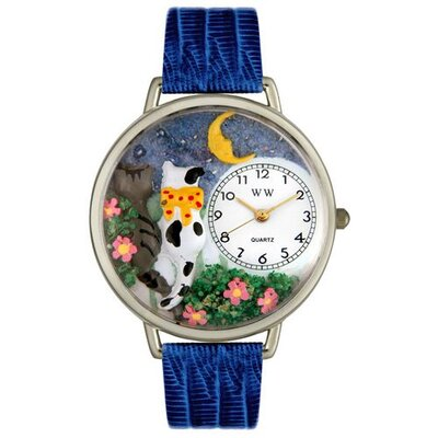 Unisex Cats Night Out Royal Blue Leather and Silvertone Watch in Silver