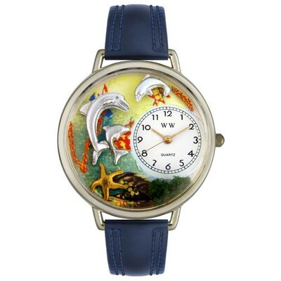 Unisex Dolphin Navy Blue Leather and Silvertone Watch in Silver