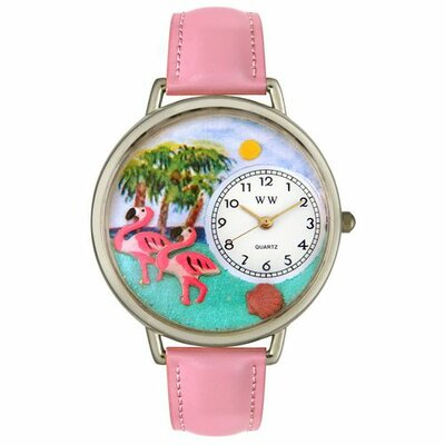 Whimsical Watches Unisex Flamingo Pink Leather and Silvertone Watch in Silver