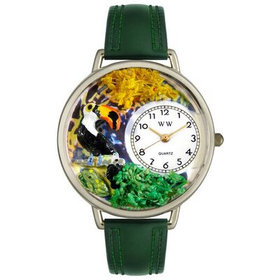 Unisex Toucan Hunter Green Leather and Silvertone Watch in Silver