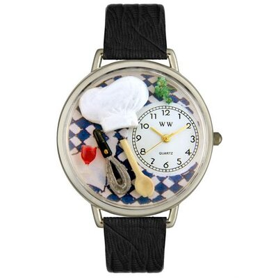 Unisex Chef Black Skin Leather and Silvertone Watch in Silver