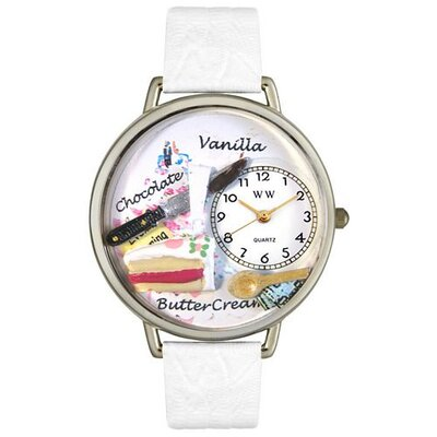 Whimsical Watches Unisex Pastries White Leather and Silvertone Watch in Silver