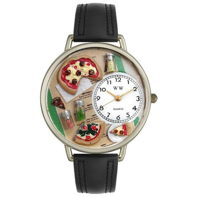 Whimsical Watches Unisex Pizza Lover Watch in Silver