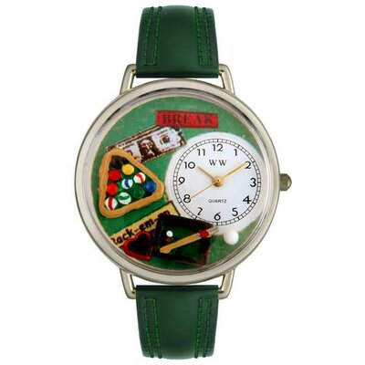 Whimsical Watches Unisex Billiards Hunter Green Leather and Silvertone Watch in Silver