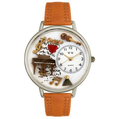 Whimsical Watches Unisex Music Piano Tan Leather and Silvertone Watch in Silver