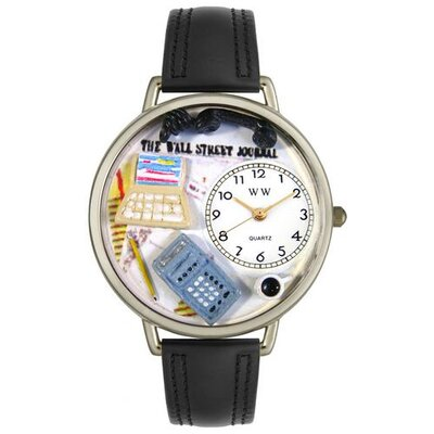 Unisex Accountant Black Padded Leather and Silvertone Watch in Silver