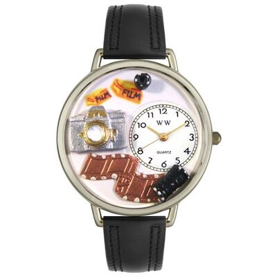 Unisex Photographer Black Padded Leather and Silvertone Watch in Silver