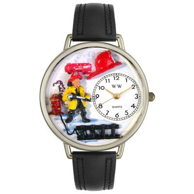 Unisex Firefighter Black Padded Leather and Silvertone Watch in Silver