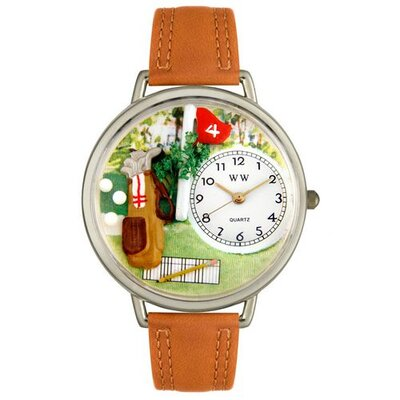 Whimsical Watches Unisex Golf Bag Tan Leather and Silvertone Watch in Silver