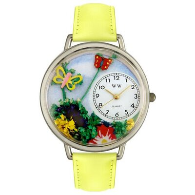 Unisex Butterflies Yellow Leather and Silvertone Watch in Silver