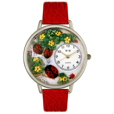 Unisex Ladybugs Red Leather and Silvertone Watch in Silver