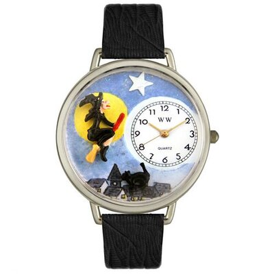 Unisex Halloween Flying Witch Black Skin Leather and Silvertone Watch in Silver