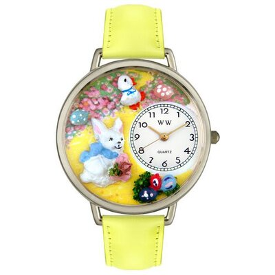 Whimsical Watches Unisex Easter Bunny Yellow Leather and Silvertone Watch in Silver