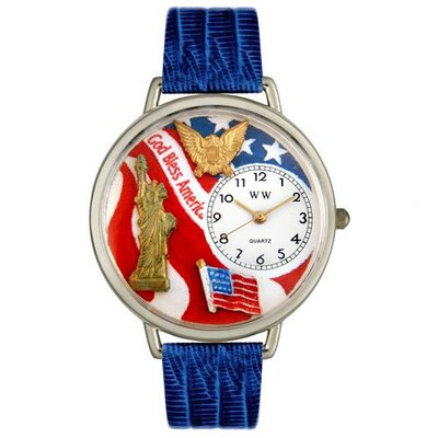 Unisex July 4th Patriotic Royal Blue Leather and Silvertone Watch in Silver