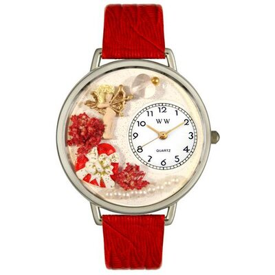 Whimsical Watches Unisex Valentine's Day Red Leather and Silvertone Watch in Silver