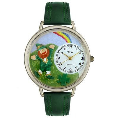 Unisex St. Patrick's Day Rainbow Hunter Green Leather and Silvertone Watch in Silver