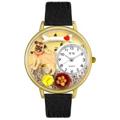 Whimsical Watches Unisex Pug Black Skin Leather and Goldtone Watch in Gold