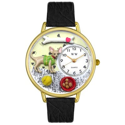Whimsical Watches Unisex Chihuahua Black Skin Leather and Goldtone Watch in Gold