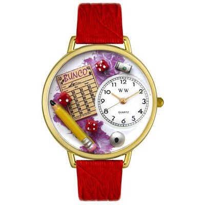 Whimsical Watches Unisex Bunco Red Leather and Goldtone Watch in Gold