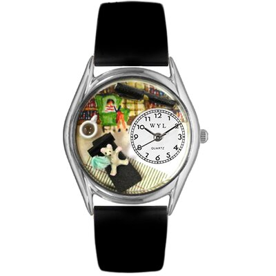 "Whimsical Watches Women""s Psychiatrist Black Leather and Silvertone Watch in Silver"